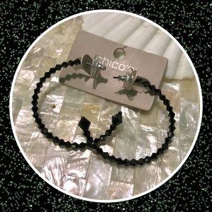 Chico's Shay Black Shimmer Hoop Earrings